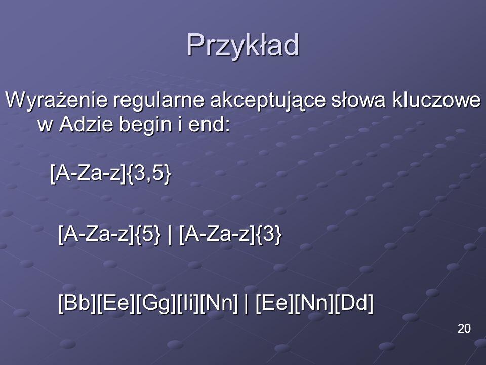 Przykład Wyrażenie regularne akceptujące słowa kluczowe w Adzie begin i end: [A-Za-z]{3,5} [A-Za-z]{5} | [A-Za-z]{3}